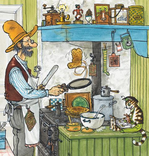 Pettson lagar pannkakor. Pettson och Findus - en lekutställning