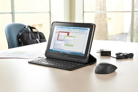 HP ElitePad with accessories in conference room