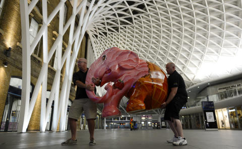First elephant arrives at London King's Cross
