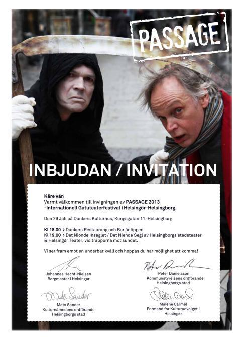 Inbjudan till invigning av Passage13