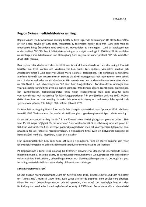 Samlingsbeskrivning Region Skånes medicinhistoriska samling