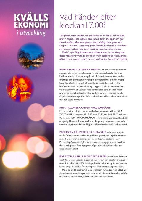 Purple Flag - process för kvällsekonomi i Stadskärnor!