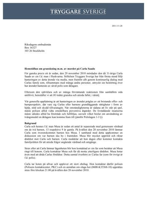 Hemställan om JO:s granskning av mordet på Carla Saado