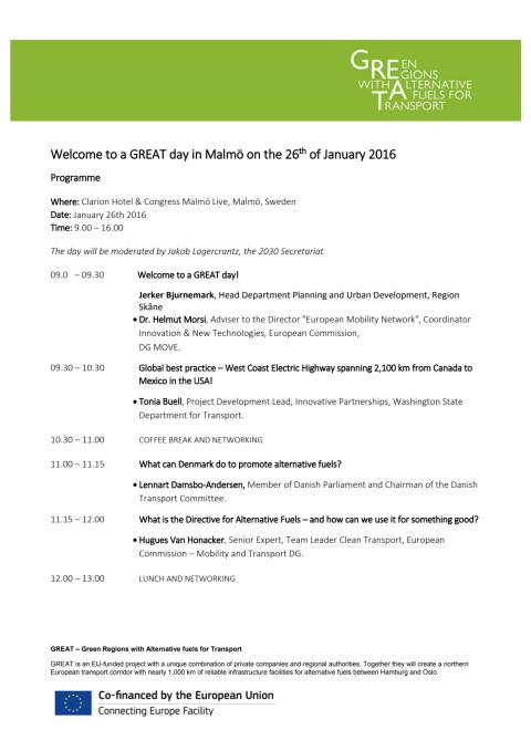 Program för A GREAT day, den 26 januari 2016