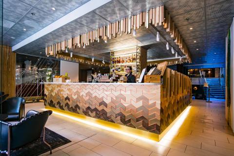 Lobby bar at Klaus K Hotel, Helsinki, designed by Stylt Trampoli
