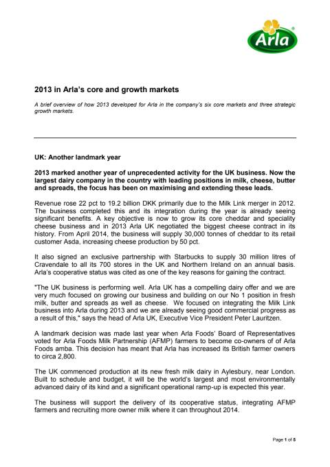 Update from Arla's core and growth markets in 2013