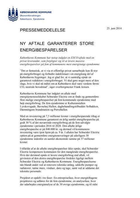 Pressemeddelelse fra Københavns Kommune
