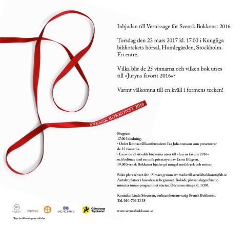 Vernissage för Svensk bokkonst 2016