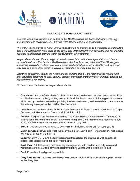 Karpaz Gate Marina Fact Sheet