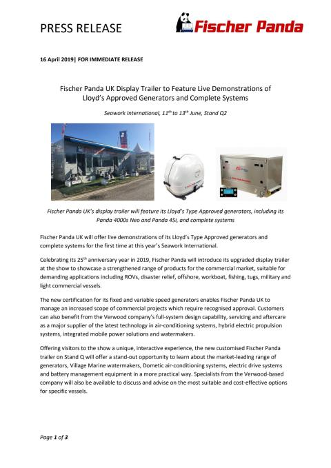Fischer Panda UK Display Trailer to Feature Live Demonstrations of Lloyd's Approved Generators and Complete Systems