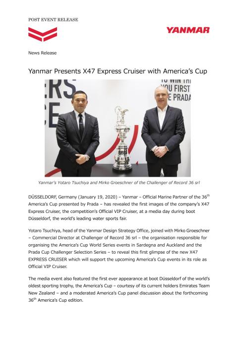 Yanmar Presents X47 Express Cruiser with America's Cup
