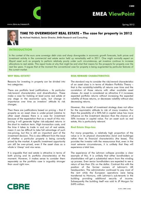 Time to overweight real estate - The case for property 2012