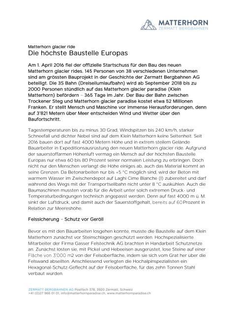 Pressemitteilung Kleinmatterhorn: Die höchste Baustelle Europas