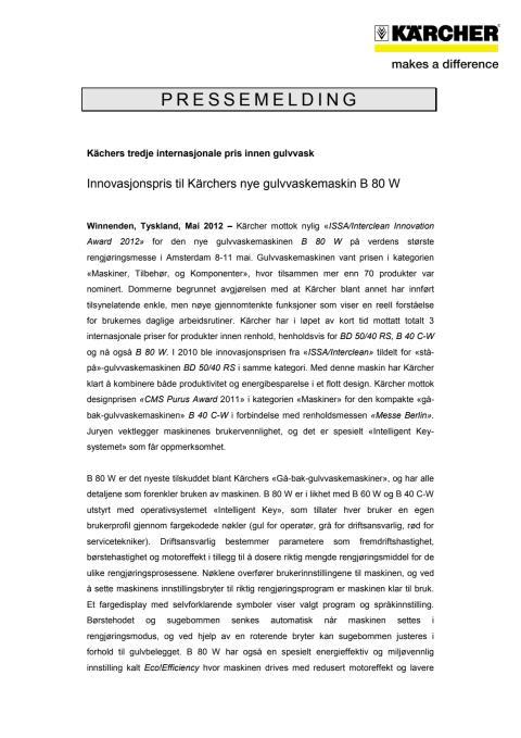 Pressemelding B 80 W PDF