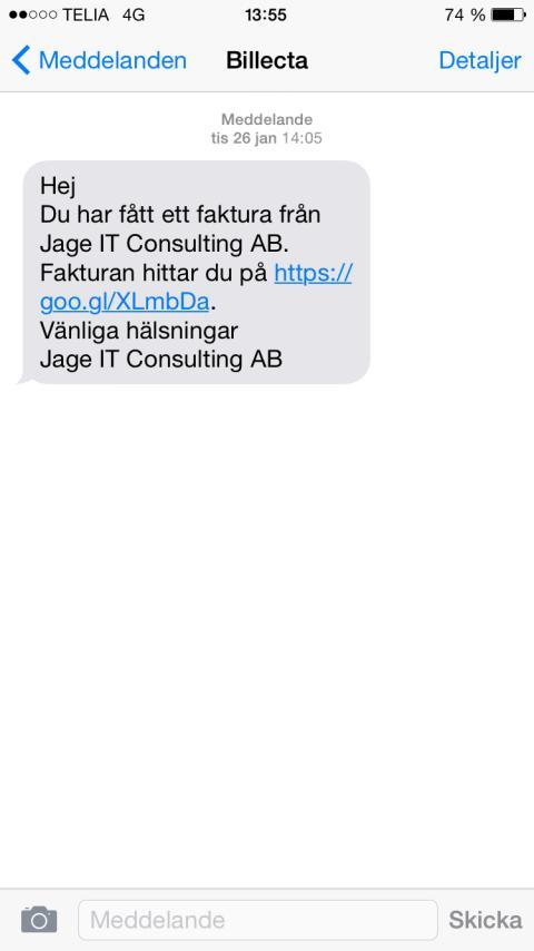 SMS faktura