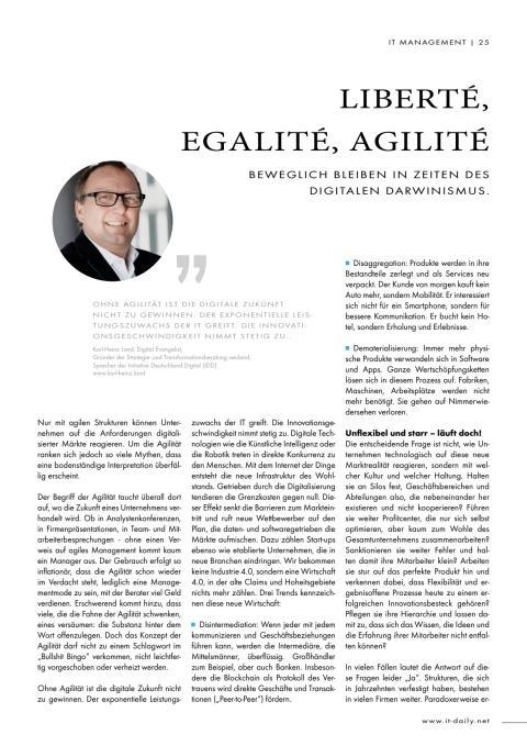 Liberté, Egalité, Agilité:  Beweglich bleiben in Zeiten des digitalen Darwinismus