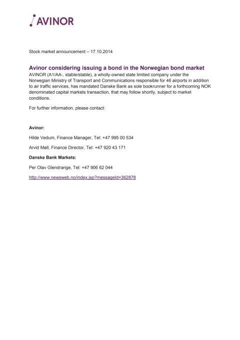 Avinor considers issuing a bond in the Norwegian bond market