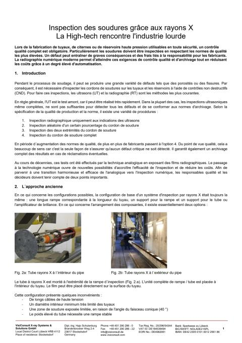 Inspection des soudures grâce aux rayons X La High-tech rencontre l'industrie lourde