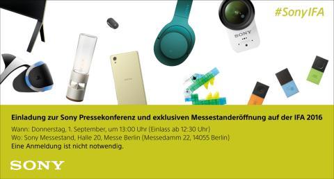 Einladung - Sony Pressekonferenz auf der IFA 2016