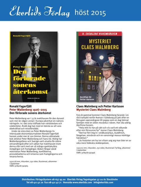 Peter Wallenberg och Claes Malmberg bland höstens utgivning hos Ekerlids Förlag