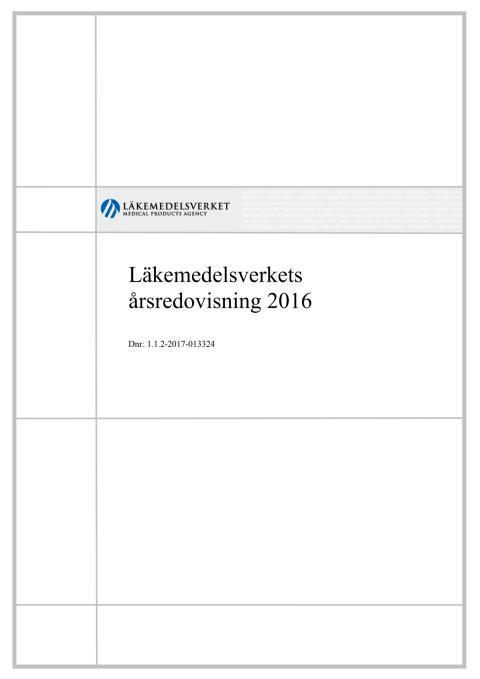 Läkemedelsverkets årsredovisning 2016