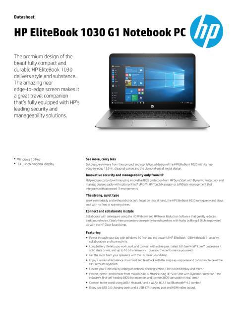 HP EliteBook 1030 Datasheet ENG