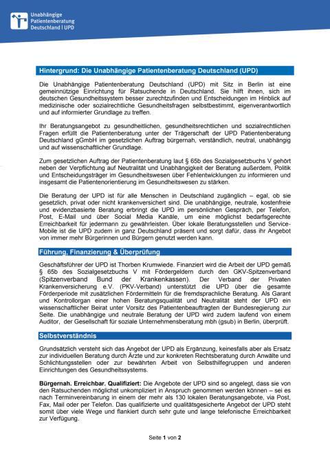 Hintergrund: Die Unabhängige Patientenberatung Deutschland (UPD)