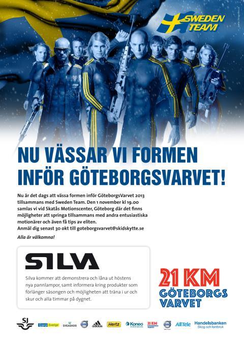 Vässa formen inför GöteborgsVarvet 2013 med Svenska Skidskyttelandslaget