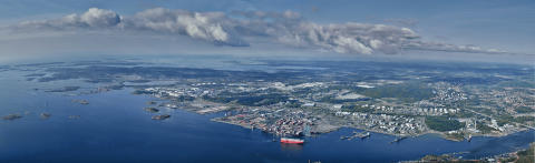 The Port of Gothenburg from above.