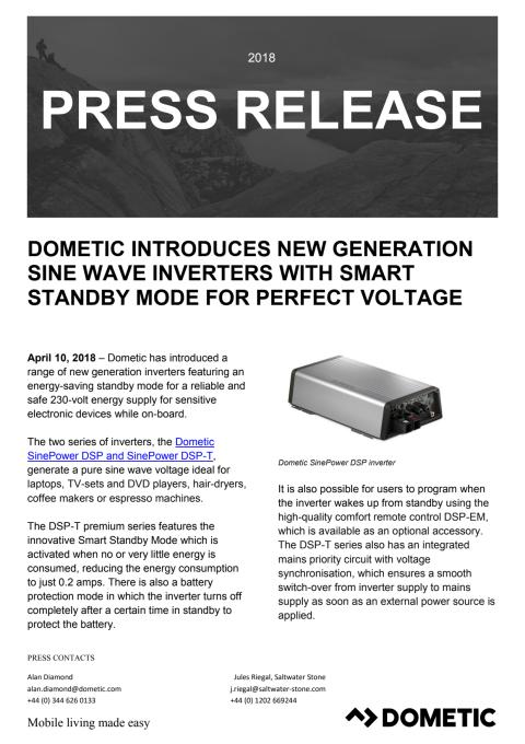 Dometic Introduces New Generation Sine Wave Inverters with Smart Standby Mode for Perfect Voltage