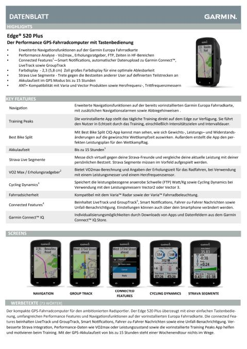 Datenblatt Garmin Edge 520 Plus