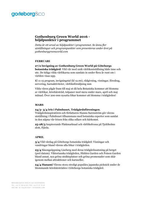 Gothenburg Green World 2016 - höjdpunkter ur programmet