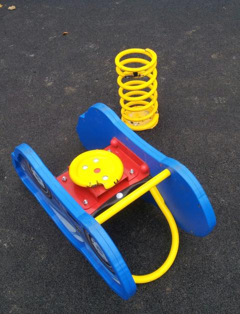 Vandalised: Broken play equipment at Balderstone Park