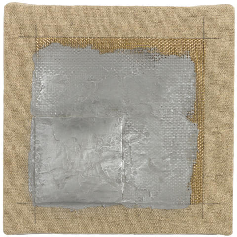 Cris Gianakos, 3 May, 1975, sculptmetal,copper screen, graphite on canvas on plywood, 20x20 cm