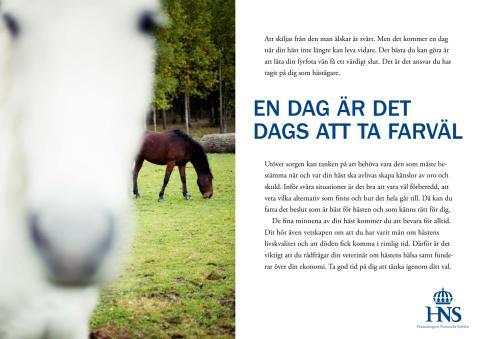 Informationsfolder om slutet på hästens liv