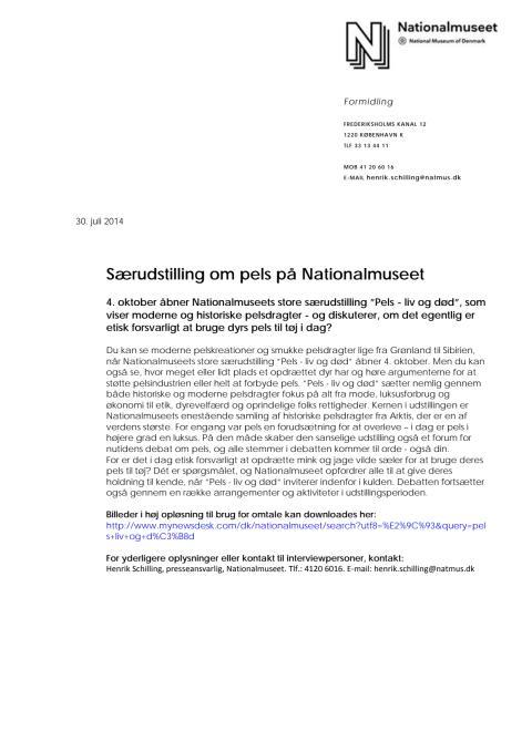 Pels - liv og død - Pressemateriale til interesseorganisationer m.fl. om særudstilling om pels på Nationalmuseet 2014