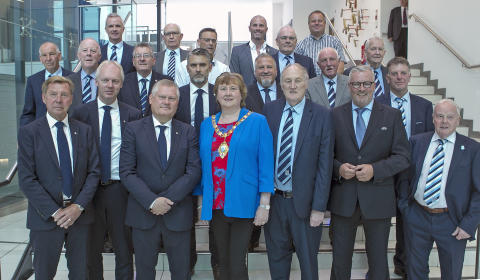 Pictured is the Mayor of Mid and East Antrim Councillor Maureen Morrow with Malmo Football Club delegates in the Braid.