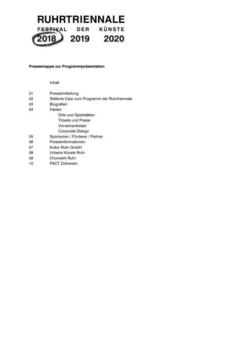 Pressemappe Programmpräsentation Ruhrtriennale 2018