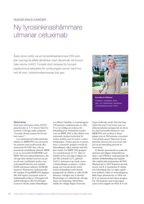 Huvud-halscancer - professor Eva Munck-Wikland rapporterar från ASCO 2010