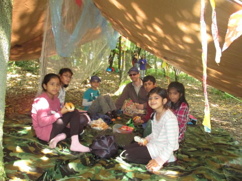 Shelter building and campfire cooking workshops helps children relive lives of WW1 Pals soldiers