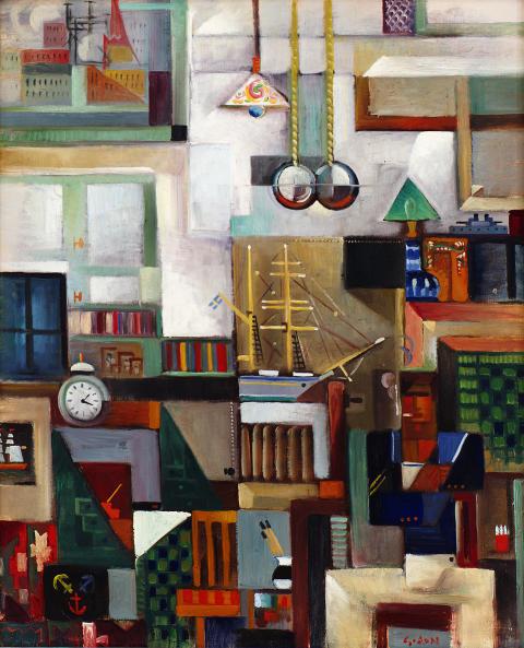 Min ateljé/Interiör,1919, olja