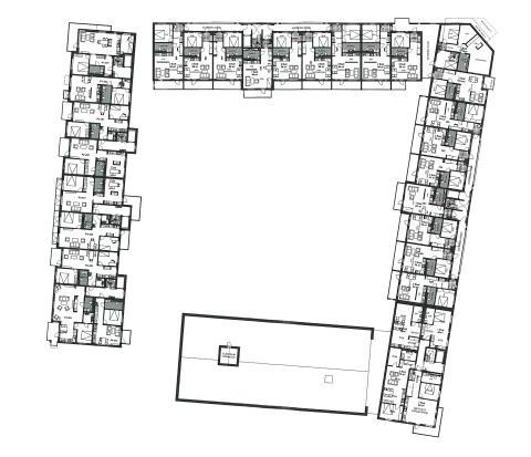 Typplan. Peabs förslag till kvartersbebyggelse, kv Tor 1, Hyllie. Illustration: Carsten Andersson arkitekter