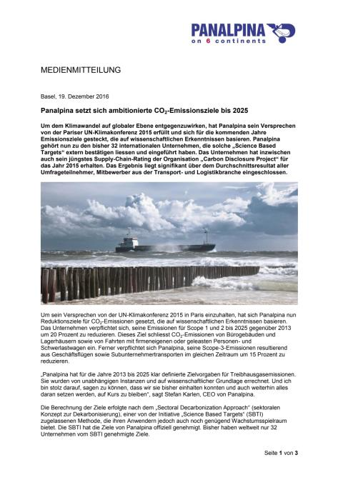 Panalpina setzt sich ambitionierte CO2-Emissionsziele bis 2025