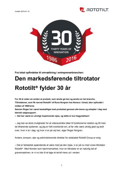 Den markedsførende tiltrotator Rototilt® fylder 30 år - DK
