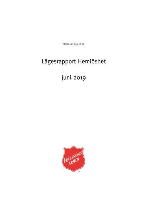 Frälsningsarméns lägesrapport om hemlöshet och social utsatthet juni 2019