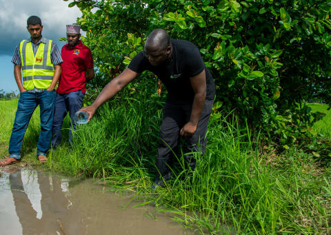 Dr Wolfgang Richard Mukabana of University of Nairobi showing effects of spreading Aquatain in the rice field