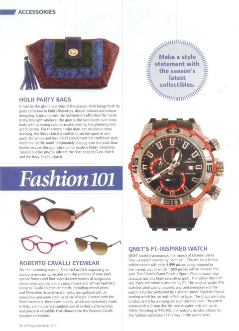 QNET's F1-Inspired Watch in Jet Wings Magazine