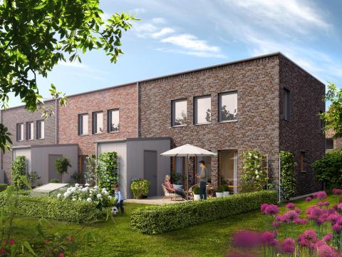 Radhus med tegelfasad, trädgårdssida