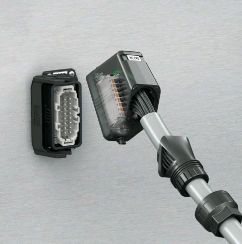 Industridon i plast med justerbar kabelförskruvning