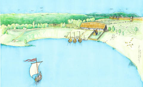 1 Reconstruction Viking age manor  (reconstruction by Jacques Vincent)